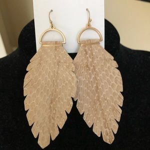 Genuine leather stamped croc print earrings
